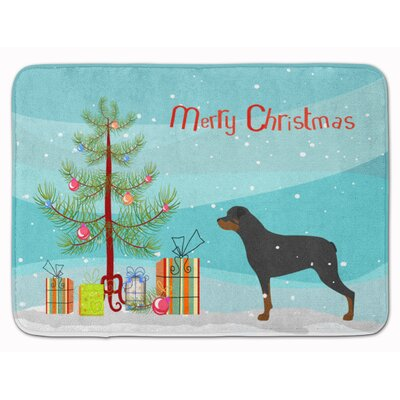 Rottweiler Merry Christmas Tree Memory Foam Bath Rug