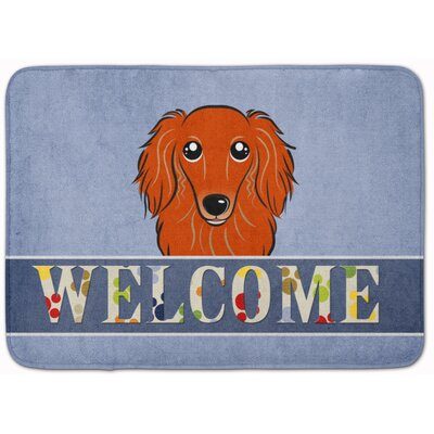Kimbolton Long Hair Dachshund Memory Foam Bath Rug Color: Red
