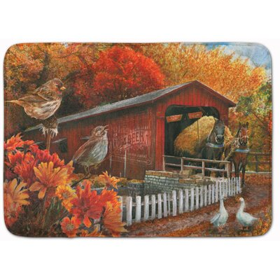 Fall Covered Bridge Memory Foam Bath Rug