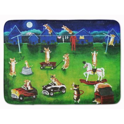Corgi Backyard Circus Memory Foam Bath Rug