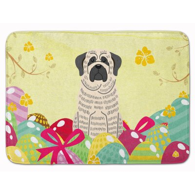 Easter Eggs Mastiff Brindle Memory Foam Bath Rug Color: White