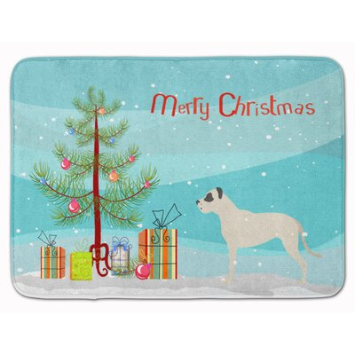 Dogo Argentino Merry Christmas Tree Memory Foam Bath Rug