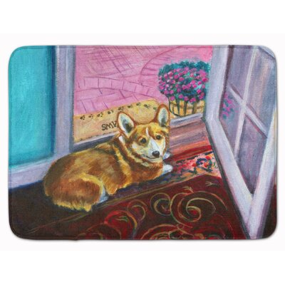 Corgi Watching from the Door Memory Foam Bath Rug