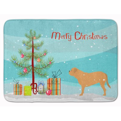 Dogue de Bordeaux Merry Christmas Tree Memory Foam Bath Rug