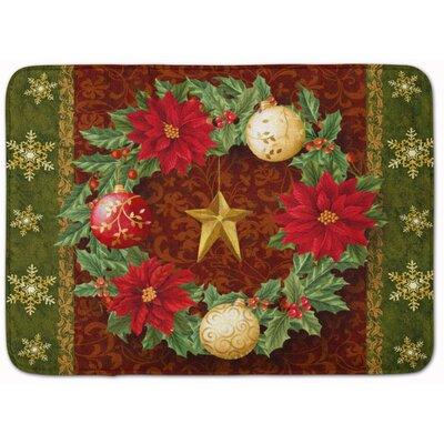 Holly Wreath with Christmas Ornaments Memory Foam Bath Rug