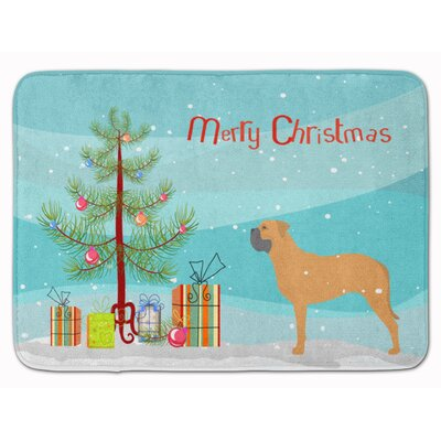 Bullmastiff Merry Christmas Tree Memory Foam Bath Rug