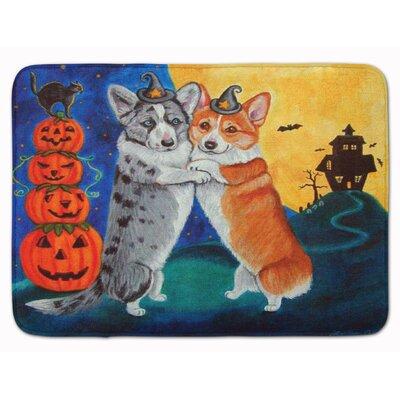 Corgi Halloween Scare Memory Foam Bath Rug