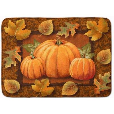 Pumpkin and Fall Leaves Memory Foam Bath Rug