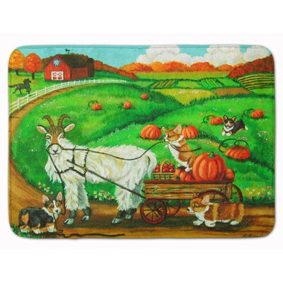 Corgi Pumpkin Ride with Goat Memory Foam Bath Rug
