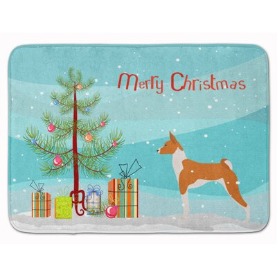 Basenji Merry Christmas Tree Memory Foam Bath Rug