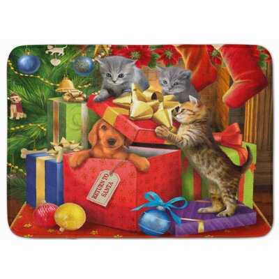 Kitten Return Puppy to Santa Claus Memory Foam Bath Rug