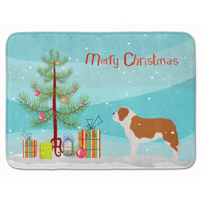 Saint Bernard Merry Christmas Tree Memory Foam Bath Rug