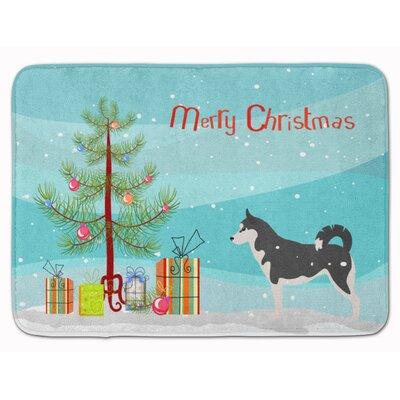 Siberian Husky Merry Christmas Tree Memory Foam Bath Rug