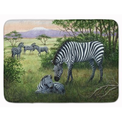 Zebra in the Field with Baby Memory Foam Bath Rug