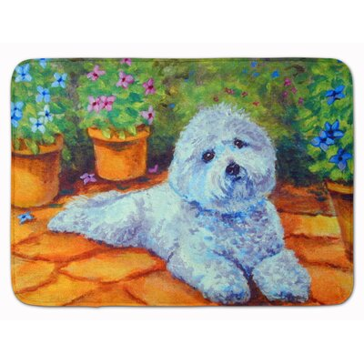 Bichon Frise on the patio Memory Foam Bath Rug