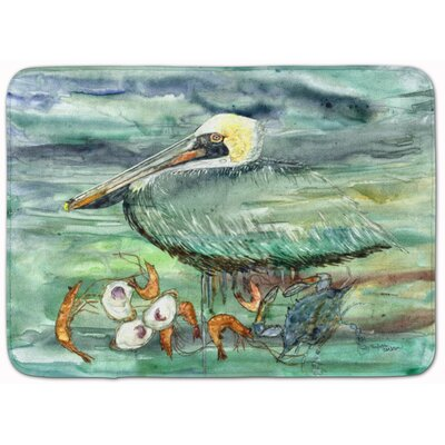 Watery Pelican, Shrimp Crab and Oysters Memory Foam Bath Rug