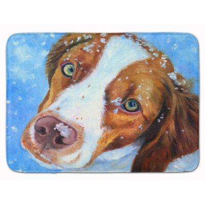 Brittany Spaniel Snow Baby Memory Foam Bath Rug