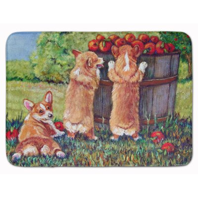 Apple Helper Corgis Memory Foam Bath Rug