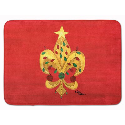 Christmas Fleur de lis Tree with lights Memory Foam Bath Rug