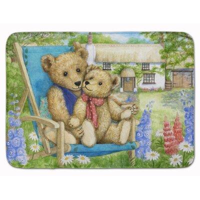 Springtime Teddy Bears in Flowers Memory Foam Bath Rug