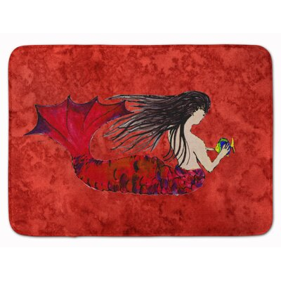 Black Haired Mermaid on Red Memory Foam Bath Rug