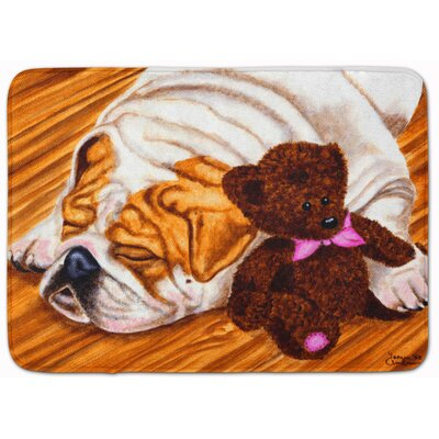 English Bulldog and Teddy Bear Memory Foam Bath Rug