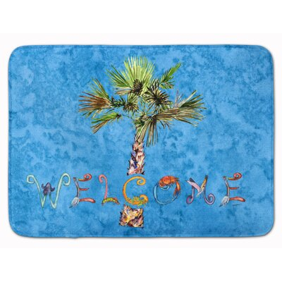 Welcome Palm Tree on Memory Foam Bath Rug Color: Blue