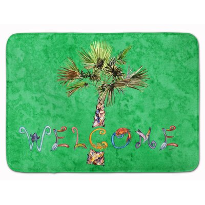 Welcome Palm Tree on Memory Foam Bath Rug Color: Green