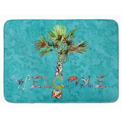 Welcome Palm Tree on Memory Foam Bath Rug Color: Teal