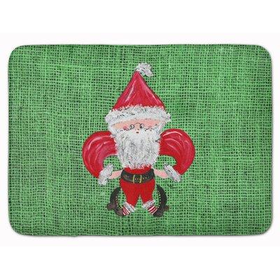 Christmas Santa Fleur de lis Memory Foam Bath Rug