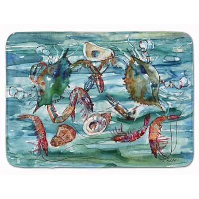 Crabs, Shrimp and Oysters in Water Memory Foam Bath Rug