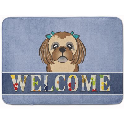 Shih Tzu Welcome Memory Foam Bath Rug Color: Brown