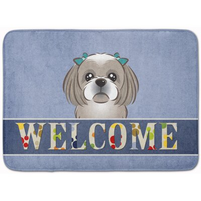 Shih Tzu Welcome Memory Foam Bath Rug Color: Beige