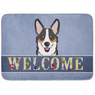 Sable Corgi Welcome Memory Foam Bath Rug Color: Gray