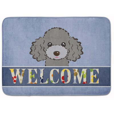 Poodle Welcome Memory Foam Bath Rug Color: Gray