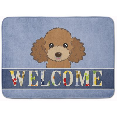 Poodle Welcome Memory Foam Bath Rug Color: Brown