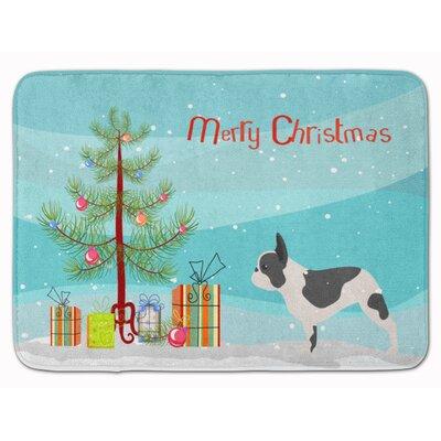 French Bulldog Merry Christmas Tree Memory Foam Bath Rug
