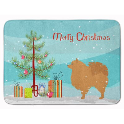 Pomeranian Merry Christmas Tree Memory Foam Bath Rug