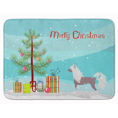 Chinese Crested Merry Christmas Tree Memory Foam Bath Rug