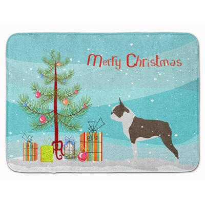 Boston Terrier Merry Christmas Tree Memory Foam Bath Rug