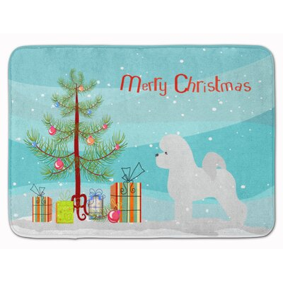 Bichon Frise Merry Christmas Tree Memory Foam Bath Rug
