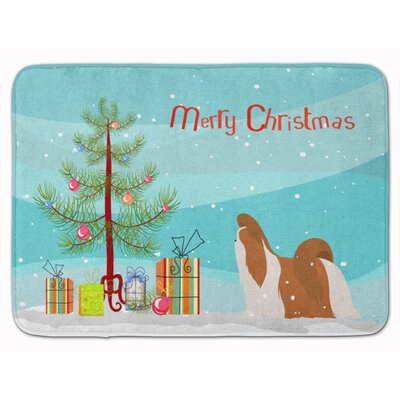 Shih Tzu Merry Christmas Tree Memory Foam Bath Rug