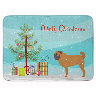 Pug Merry Christmas Tree Memory Foam Bath Rug