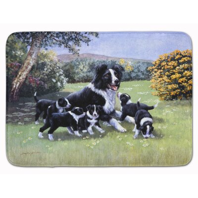 Border Collie Puppies with Momma Memory Foam Bath Rug