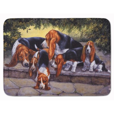 Basset Hound Puppies, Momma and Daddy Memory Foam Bath Rug