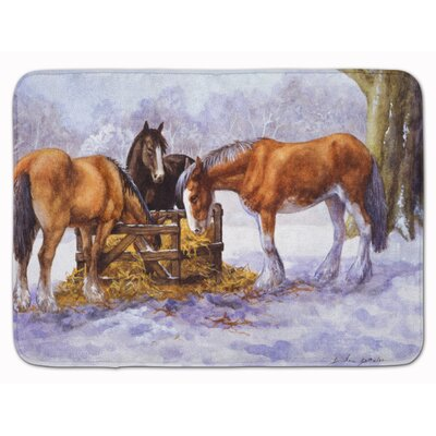 Horses eating Hay in the Snow Memory Foam Bath Rug