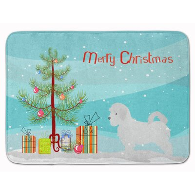 Maltese Merry Christmas Tree Memory Foam Bath Rug