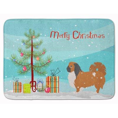 Pekingese Merry Christmas Tree Memory Foam Bath Rug