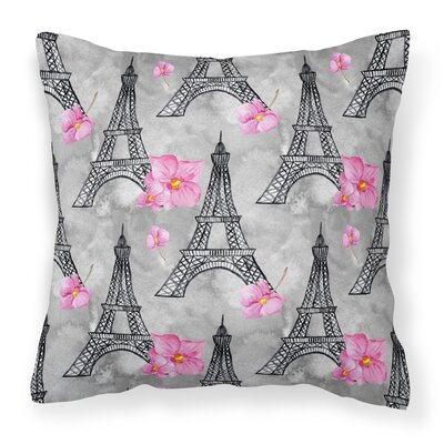 Arlene Flowers Eiffel Tower Outdoor Throw Pillow