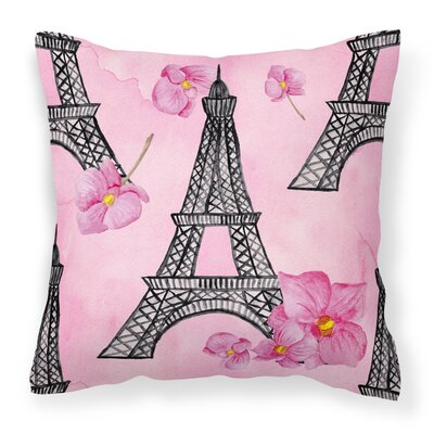 Chase Flowers and Eiffel Tower Outdoor Throw Pillow